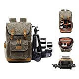 S-ZONE Camera Case Waxed Canvas Camera bag Backpack for 14 inch Laptop, Tripod