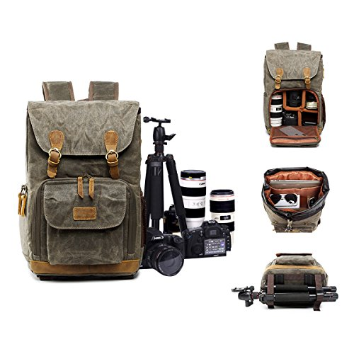 S-ZONE Camera Case Waxed Canvas Camera bag Backpack for 14 inch Laptop, Tripod by S-ZONE