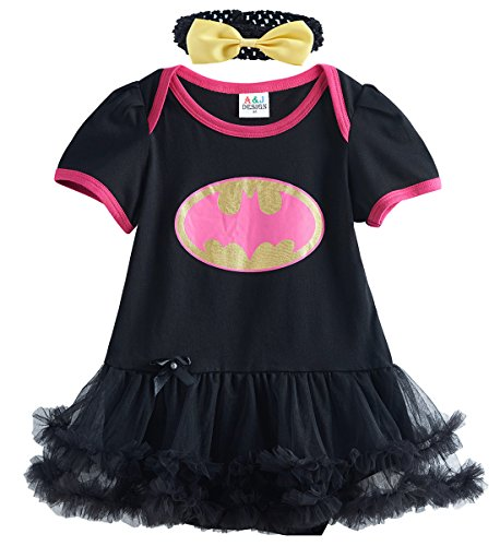 [A&J Design Baby Girls' Batgirl Tutu Onesie Black Dress Bodysuit with Headband (6-12 Months)] (Baby Batgirl Outfit)