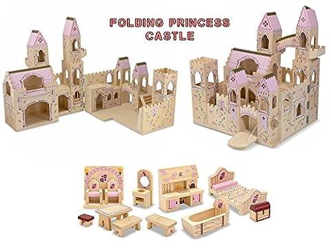 Melissa & Doug Folding Princess Castle with 12-Piece Princess Castle Furniture Set Bundle - Folding Horse Stable Wood