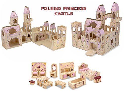 [Melissa & Doug Folding Princess Castle with 12-Piece Princess Castle Furniture Set Bundle] (Car Costume Cardboard Box)