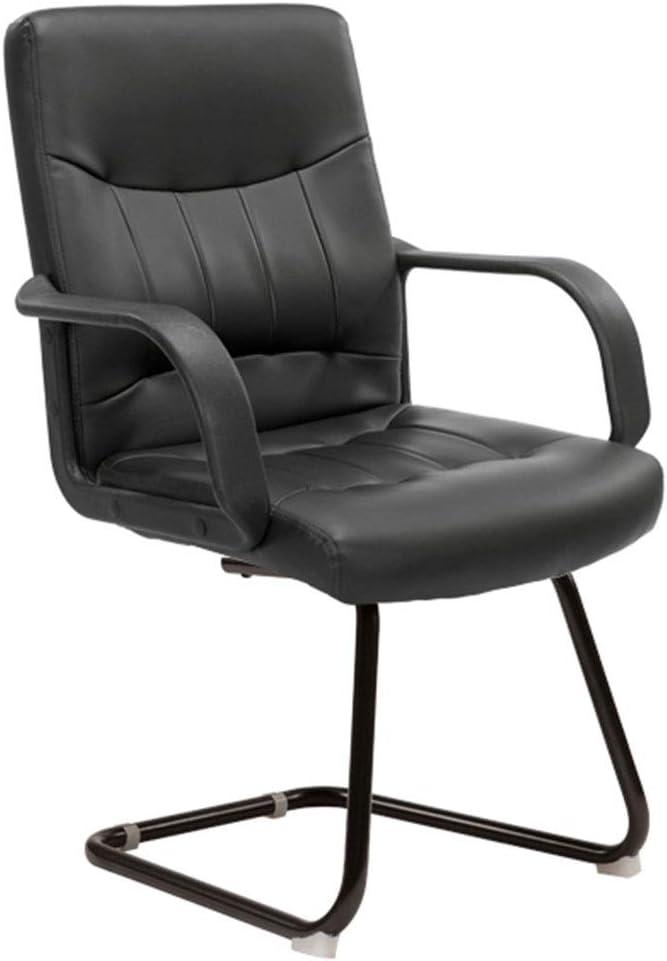 コンピュータチェアホームオフィスチェアボウレザーチェアスタッフ会議議長学生寮チェア麻雀椅子人間工学に基づいたデザイン、手すりを修正 (Color : BLACK, Size : 48*54*105CM)