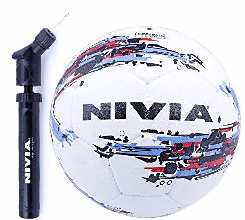 Nivia Football Combo (Nivia Storm Football, Size 5 + Double Action Ball Air Pump)