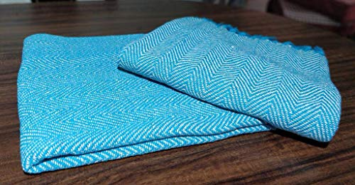 About Home Throw Blanket Cotton Rich Herringbone Multipurpose for Sofa Couch, Bedroom and Settee Cover(Beige) 50x60Inches Teal/Natural