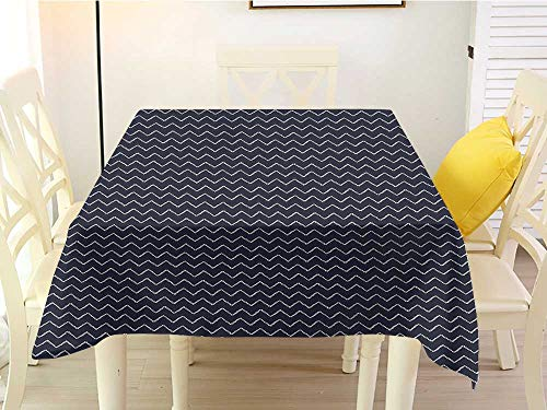 L'sWOW Square Tablecloth for end Table Navy Blue Chevron Zigzag Ropes Ornamental Arrangement Herringbone Pattern Illustration Navy Blue White Fringe 50 x 50 Inch