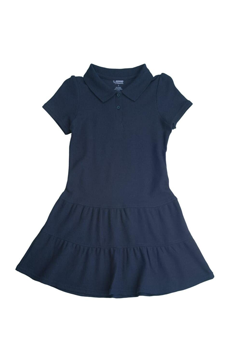FRENCH TOAST School Uniforms Girls Ruffled Pique Polo Dress - Z9018 - Navy, 7 1354G NAVY 7
