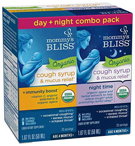 Mommy's Bliss Baby Organic Cough Syrup + Immune Support Day & Night Combo Pack 4 Months+ 3.34 Fluid -