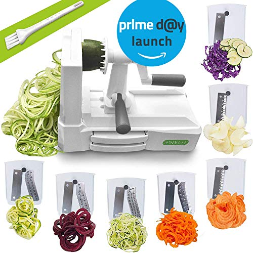 Spiralizer Ultimate 7 Strongest-and-Heaviest Duty Vegetable Slicer Best Veggie Pasta Spaghetti Maker for Keto/Paleo/Gluten-Free, With Extra Blade Caddy & 4 Recipe Ebook, White ()