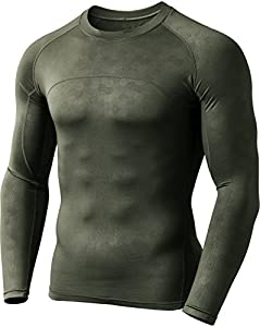 CQ-HUD304-TGN_Large CQR Men's Thermal Wintergear Compression Baselayer Long Sleeve Shirt HUD304