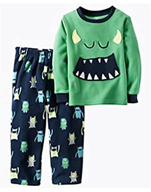 Baby Boys Carter's Fleece Halloween Monster Pajamas 2 Piece Set ~ Costume ~ 12 Months