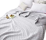 J-pinno Gray White Stripes Jersey Cotton Cozy Quilt Reversible Throw Blanket Bedspread Bedding Coverlet for Kids Boys Girls Bed Gift (Gray, Twin 59'' X 78'')