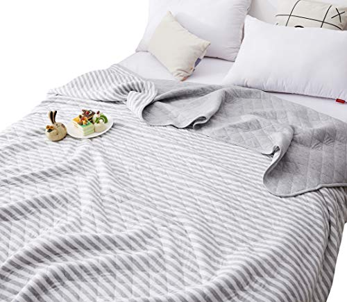 (J-pinno Grey White Stripe Jersey Cotton Cozy Quilt Reversible Throw Blanket Bedspread Bedding Coverlet for Kids Boys Girls Bed Gift (Gray, F/Q 78