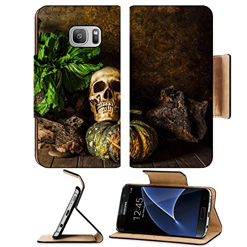 MSD Samsung Galaxy S7 Flip Pu Wallet Case IMAGE ID: 29663250 Still Life Skull and pumpkin on the timber A symbol of (123 Cards Halloween)