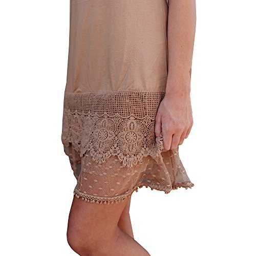 Boot Cuff Socks Dress Skirt Extender with Tiered Lace, Cotton Knit Underskirt for Women (Medium, Taupe) ()