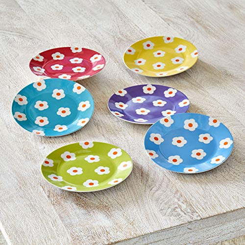 (Brylanehome Daisy Dessert Plates, Set Of 6 - Assorted)