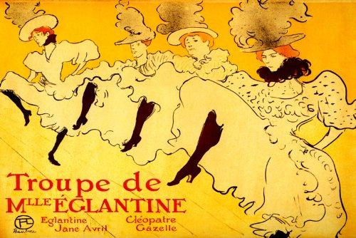 La Troupe De Mademoiselle Eglantine Paris Cabaretカンカンダンサー1896 TOULOUSE LAUTREC LARGEヴィンテージポスターREPROキャンバスの B00KQR7HDU