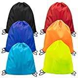 Amariver 6 Pieces Drawstring Backpack Drawstring Bag Cinch Nap Sack Tote Bags For Kids Adults Gym Sport Beach Travel Picnic For Sale