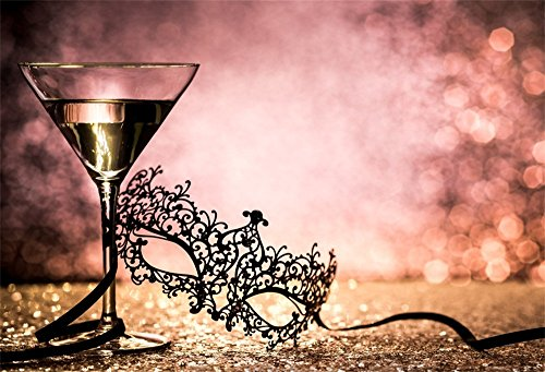 LFEEY 7x5ft Carnival Backdrop Wine Glass Boken Background Mardi Gras Sexy Masquerade Lace Mask Backdrops for Photography Photo Studio Props ()
