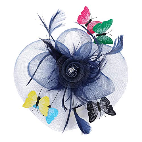 - Fascinator for Women Tea Party Wedding Headband Mesh Feather Multicolor Butterfly Hair Clip