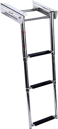 Escalera de lanzamiento de acero inoxidable, metal Escalera plegable de acero inoxidable para barcos de 3 escalones para marina, Escalera de barco telescópica Montaje deslizante de acero debajo de: Amazon.es: Hogar