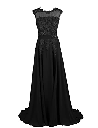 Fanciest Women's Appliques Lang Ballkleid Abendkleider Homecoming Kleid  Brautjungfernkleider Schwarz 32