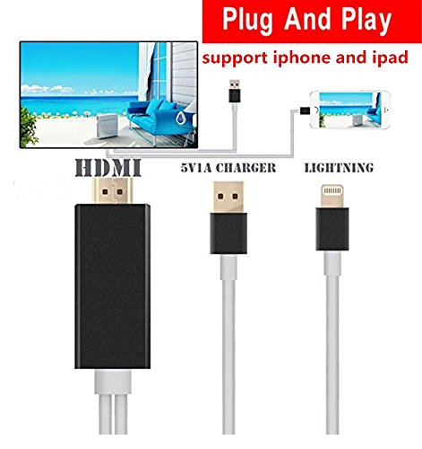 HDMI Cable for iphone ipad to TV iphone ipad Adapter Cable 6.4Ft Lightning MHL to HDMI Cable 1080P