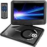 Apzka 9.5 Portable DVD Player with Rechargeable Battery, Game Joystick and Car charger, Swivel Screen SD Card Slot and USB Port, Use via Remote Control and Menu Key, Black