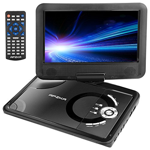 Apzka 9.5'' Portable DVD Player with Rechargeable Battery, Game Joystick and Car charger, Swivel Screen SD Card Slot and USB Port, Use via Remote Control and Menu Key, Black by Apzka