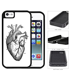 Anatomy Of Heart Diagram 2-Piece Dual Layer High Impact Rubber Silicone Cell Phone Case Apple iPhone 5 5s