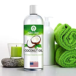 Fractionated Coconut Oil - Pure Expeller Pressed Hexane Free MCT - Best USA Bottled Carrier Oil for Essential Oils Aromatherapy & Massage - Therapeutic Grade Lg 16oz Pump - 12 Ellie\'s Best Recipes