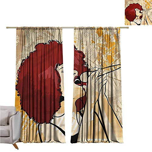 - zojihouse AfroThermal Insulated Room Blackout Curtains Singer Woman Karaoke Style W82xL72