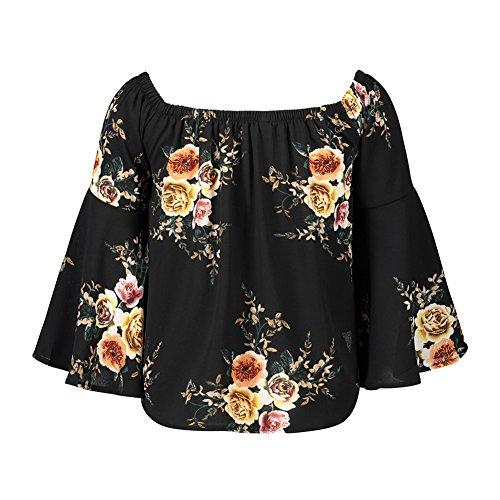 Camisas Manga Larga De La Camiseta Impresión Flores Flojas Blusa Fuera Del Hombro Mujeres Top Negro
