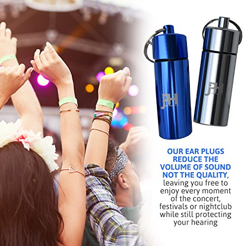 Ear Plugs - Best Noise Cancelling for Concerts, Musicians, Shooting, Sleeping, Construction, Flying, Travel, Motorbikes and Swimming - Set of 3 Silicone Protection with 2 Containers by Just Pure Hut (Image #4)