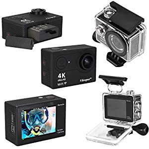 Vikeepro Waterproof WiFi Action Camera 2.0 Inch Full HD 4K 30fps Wifi Underwater Sports Action Camera With 170 Degree Ultra-wide Angle Lens, Wi-Fi Wrist 2.4G (black 4K)