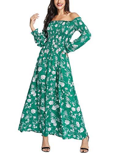 Azalosie Floral Off Shoulder Tube Dress Long Sleeve Empire Waist Bohemian Flowy Party Beach Long Maxi Dress Green ()