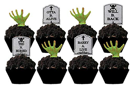Halloween Party Tombstone Graveyard Cupcake Picks - 24 pcs -