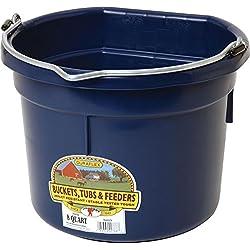 LITTLE GIANT Flat-Back Dura-Flex Plastic Bucket, 8-Quart, Navy Blue