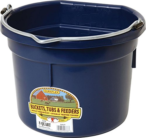 LITTLE GIANT Flat-Back Dura-Flex Plastic Bucket, 8-Quart, Navy Blue
