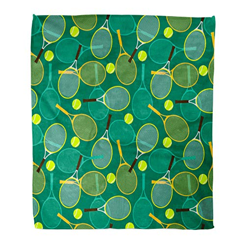 Emvency Throw Blanket Warm Cozy Print Flannel Colorful Activity Tennis Rackets and Balls Green Backhand Comfortable Soft for Bed Sofa and Couch 60x80 Inches ()