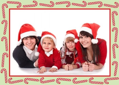 - Birchcraft Studios 2220 Candy Cane Photo Card - Red Lined Envelope with White Lining - Red Ink - Pack of 25
