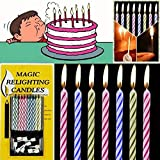 erholi 10pcs Magic Relighting Candles Birthday Cake Candles Party Trick Joke Holder Candles