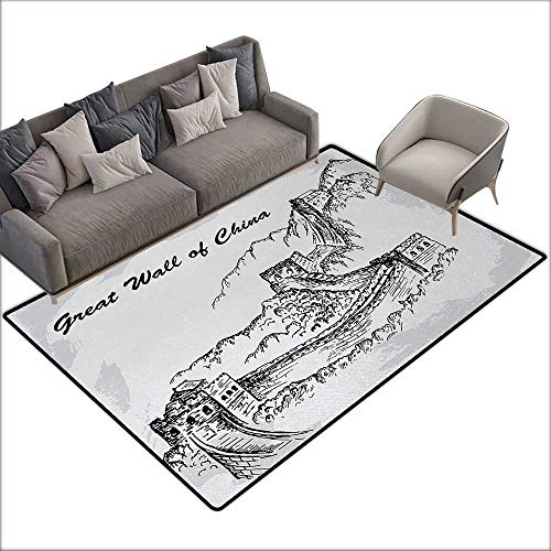 (Door mat Area mat Great Wall of China Asian Architecture on Northern Mountain War Ruins Sketchy Artsy Illustration W70 xL106 Suitable for Bedroom, Living Room, Games Room, Foyer or Dining Room)