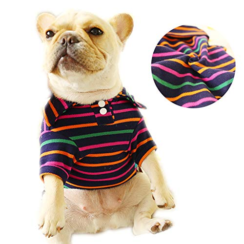 CT COUTUDI Stripe Dog Polo Shirt Pet Puppy T-Shirt Clothes Outfit Apparel for Cats and Small Medium Dogs for Dog Pug…
