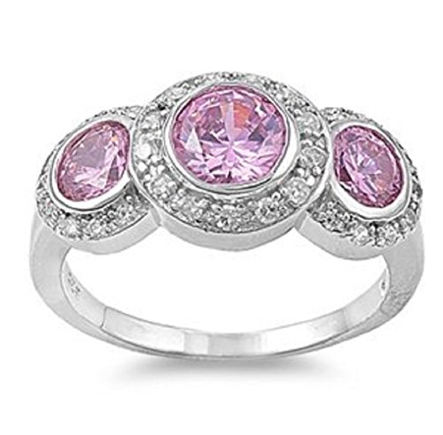 12MM-925-Sterling-Silver-Round-Cut-Pink-cz-Ring-Size-5-10