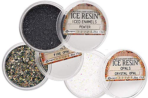 ICE Resin® Inclusions Set - German Silver Iced Enamels, Silver Glass Glitter, Crystal Opal Glitter (Fire & Ice) - Glitter Ice Crystal