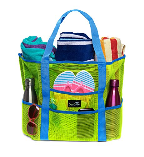 Dejaroo Mesh Beach Bag – Toy Tote Bag – Large Lightweight Market, Grocery & Picnic Tote with Oversized Pockets (Green with Aqua Handles)