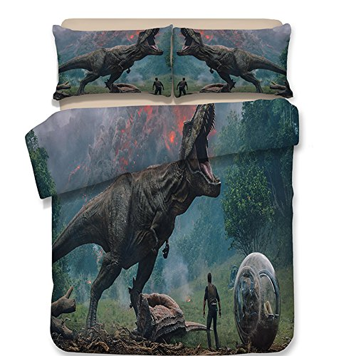 A Gulping Dinosaur Print Duvet Cover Set, 3 Piece Soft Polyester Digital Bedding Set for Boys, No Comforter, Queen