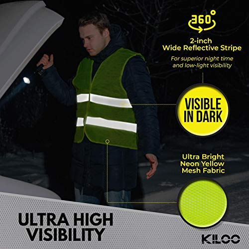 Reflective Safety Vests - Pack of 12 | High Visibility Neon Yellow Mesh | Fits Men and Women | For Construction and Surveyor Work, Security, Emergency, Event Volunteers, Traffic and Parking Workers by Kiloo (Image #3)