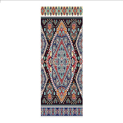 Decorative Privacy Window Film/Vibrant Vintage Framework Bohemian Curvy Ornate Borders Symmetric Cultural Colorful Decorative/No-Glue Self Static Cling for Home Bedroom Bathroom Kitchen Office Decor M