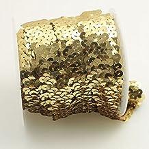 Seasofbeauty Elastic Gleaming Ribbon Sequins Trim Applique Bridal Wedding Applique 10 yards Gold
